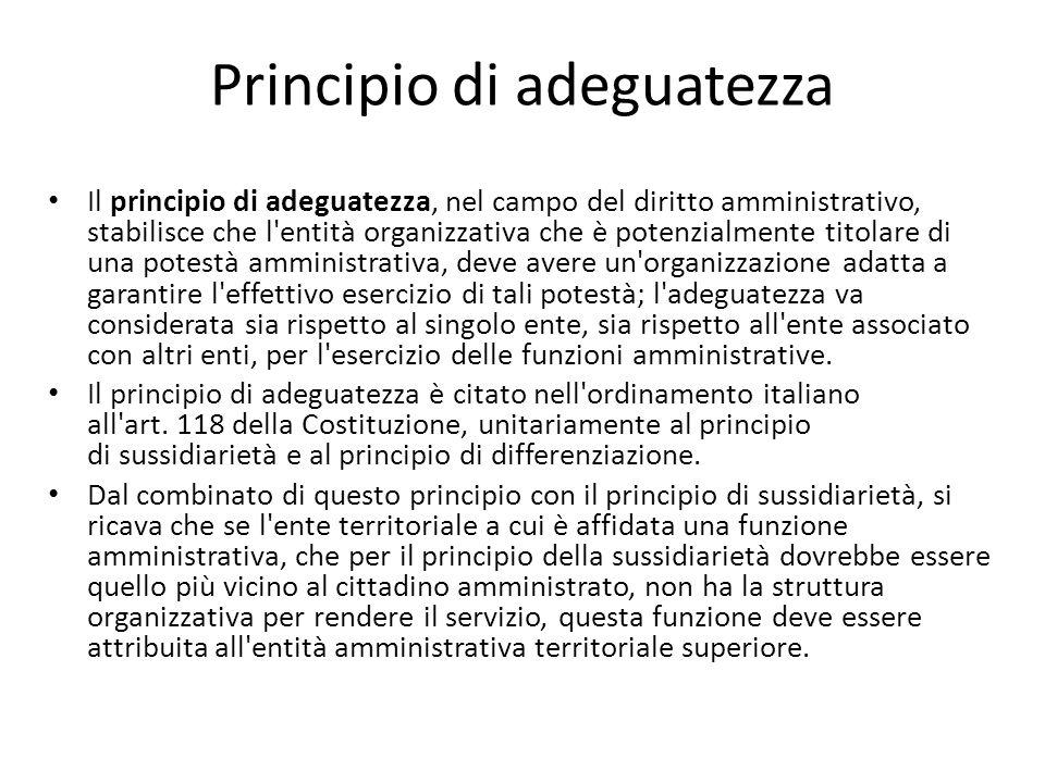 Principio di adeguatezza Il principio di adeguatezza, nel campo del diritto amministrativo, stabilisce che l'entità organizzativa che è potenzialmente