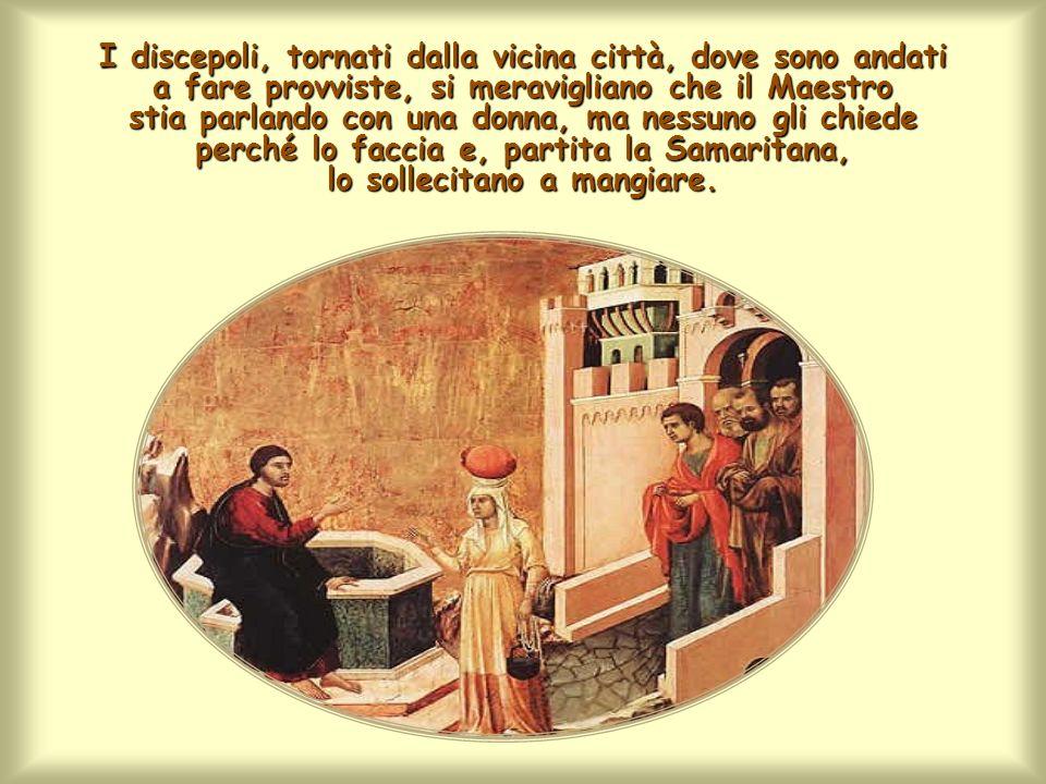 Gesù, seduto presso il pozzo di Giacobbe, in Samaria, sta concludendo il suo colloquio con la Samaritana.
