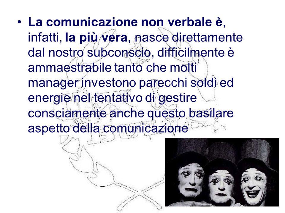 La comunicazione non verbale è, infatti, la più vera, nasce direttamente dal nostro subconscio, difficilmente è ammaestrabile tanto che molti manager