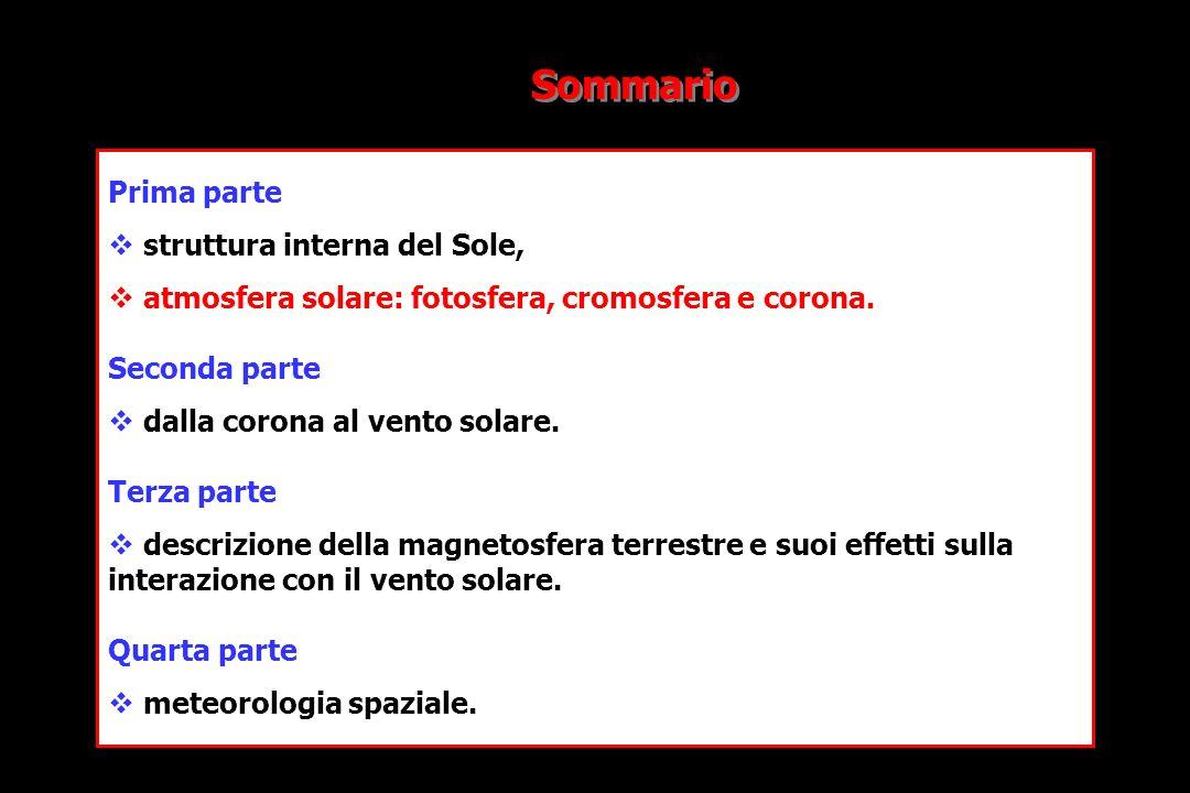 Prima parte struttura interna del Sole, atmosfera solare: fotosfera, cromosfera e corona.