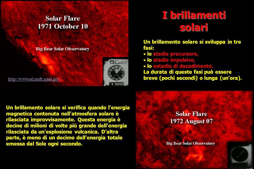 I brillamenti solari http://wwwssl.msfc.nasa.gov/ Un brillamento solare si verifica quando l energia magnetica contenuta nell atmosfera solare è rilasciata improvvisamente.