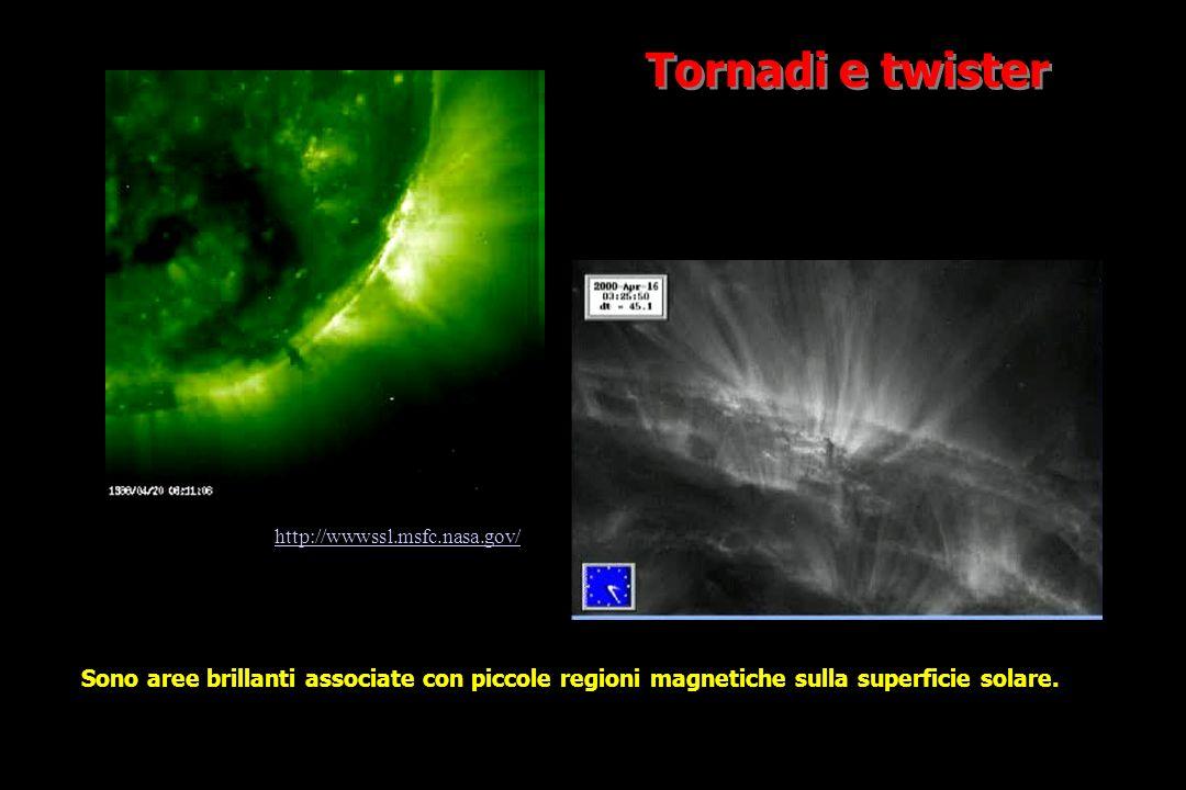 Tornadi e twister Sono aree brillanti associate con piccole regioni magnetiche sulla superficie solare.