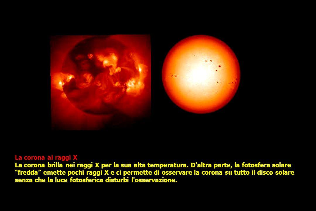 La corona ai raggi X La corona brilla nei raggi X per la sua alta temperatura.