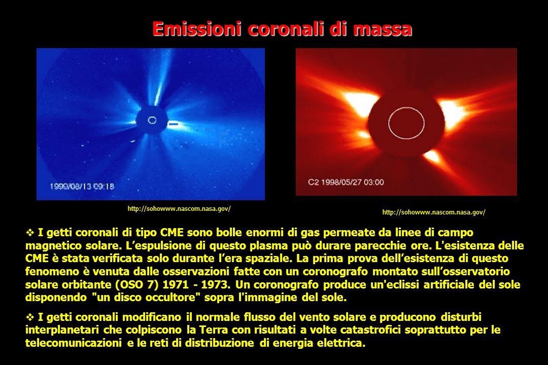 Emissioni coronali di massa http://sohowww.nascom.nasa.gov/ I getti coronali di tipo CME sono bolle enormi di gas permeate da linee di campo magnetico solare.