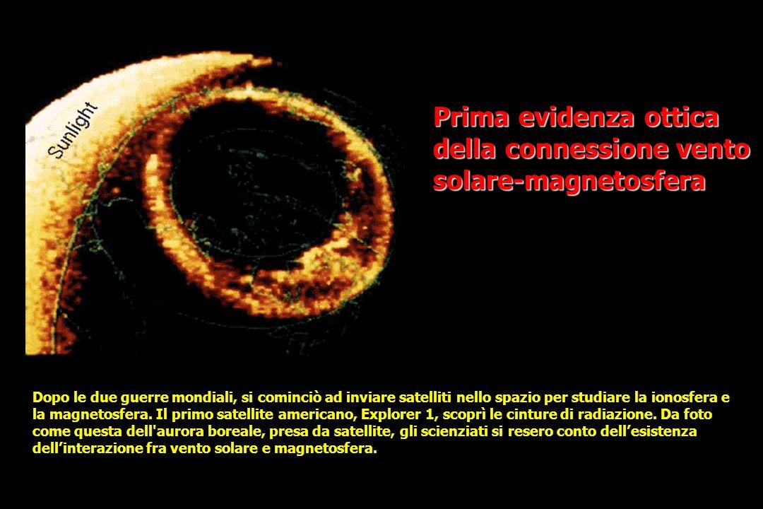 Prima evidenza ottica della connessione vento solare-magnetosfera Dopo le due guerre mondiali, si cominciò ad inviare satelliti nello spazio per studiare la ionosfera e la magnetosfera.