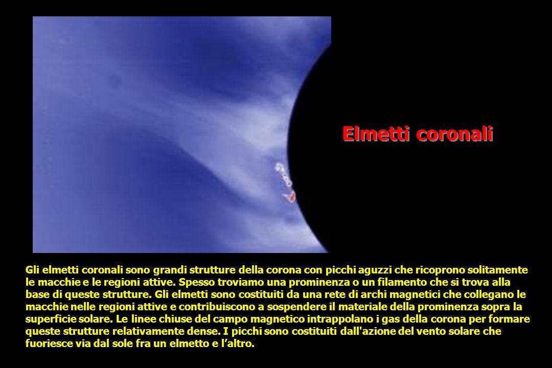 Elmetti coronali Gli elmetti coronali sono grandi strutture della corona con picchi aguzzi che ricoprono solitamente le macchie e le regioni attive.