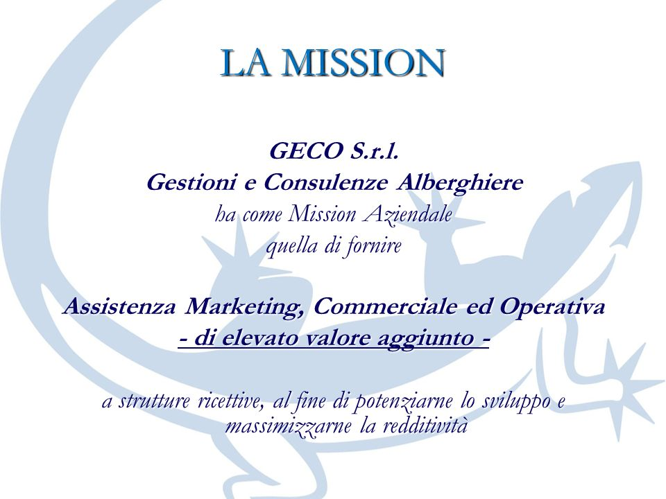 LA MISSION GECO S.r.l. Gestioni e Consulenze Alberghiere ha come Mission Aziendale quella di fornire Assistenza Marketing, Commerciale ed Operativa -