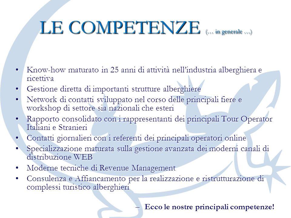LE COMPETENZE (… in generale …) Know-how maturato in 25 anni di attività nellindustria alberghiera e ricettivaKnow-how maturato in 25 anni di attività