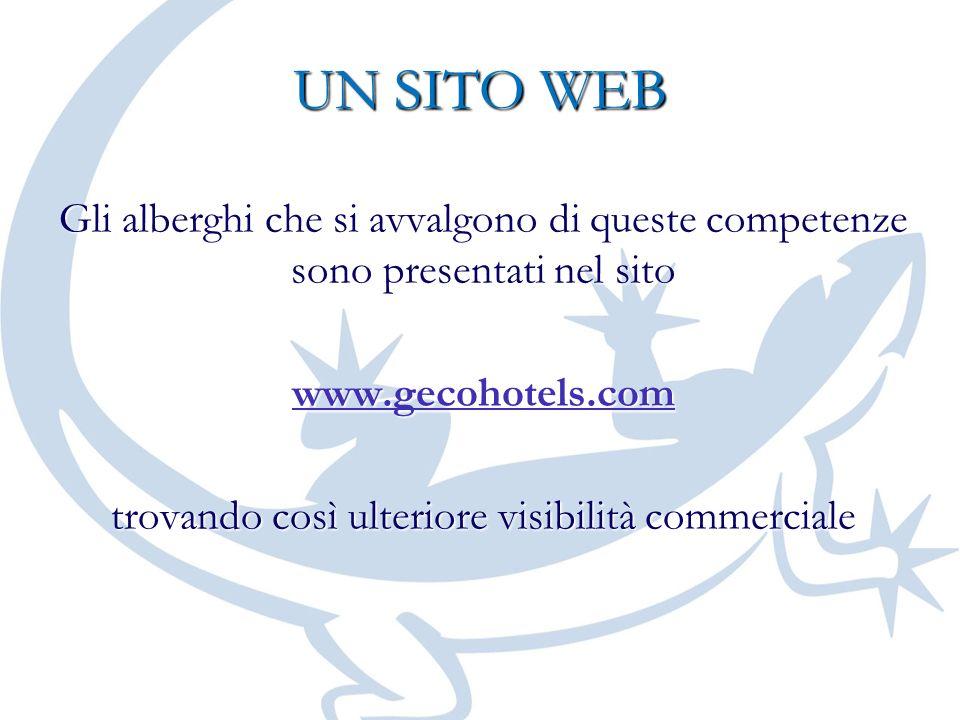 UN SITO WEB Gli alberghi che si avvalgono di queste competenze sono presentati nel sito www.gecohotels.com trovando così ulteriore visibilità commerci