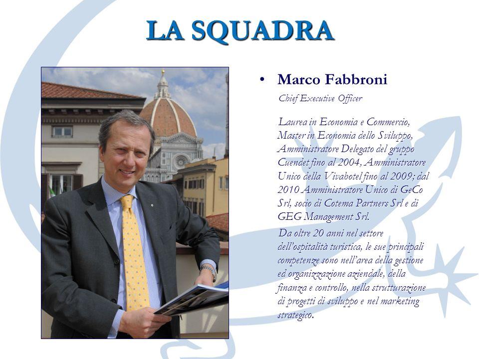 LA SQUADRA Marco Fabbroni Chief Executive Officer Laurea in Economia e Commercio, Master in Economia dello Sviluppo, Amministratore Delegato del grupp