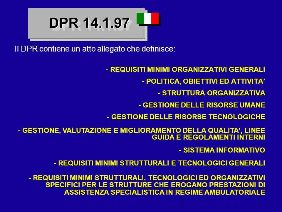 Il DPR contiene un atto allegato che definisce: - REQUISITI MINIMI ORGANIZZATIVI GENERALI - POLITICA, OBIETTIVI ED ATTIVITA - STRUTTURA ORGANIZZATIVA
