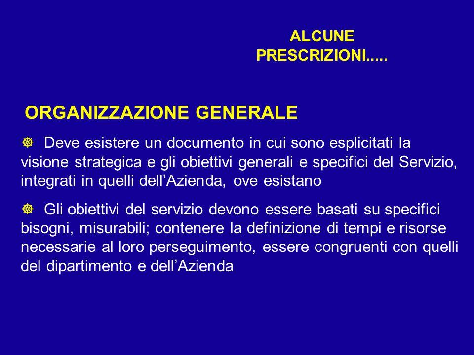 ALCUNE PRESCRIZIONI..... ORGANIZZAZIONE GENERALE ] Deve esistere un documento in cui sono esplicitati la visione strategica e gli obiettivi generali e
