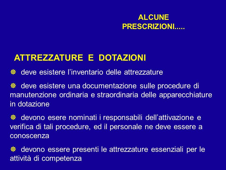 ALCUNE PRESCRIZIONI..... ATTREZZATURE E DOTAZIONI ] deve esistere linventario delle attrezzature ] deve esistere una documentazione sulle procedure di