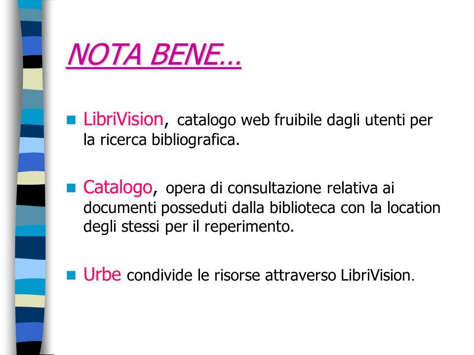 NOTA BENE… LibriVision, catalogo web fruibile dagli utenti per la ricerca bibliografica. Catalogo, opera di consultazione relativa ai documenti possed