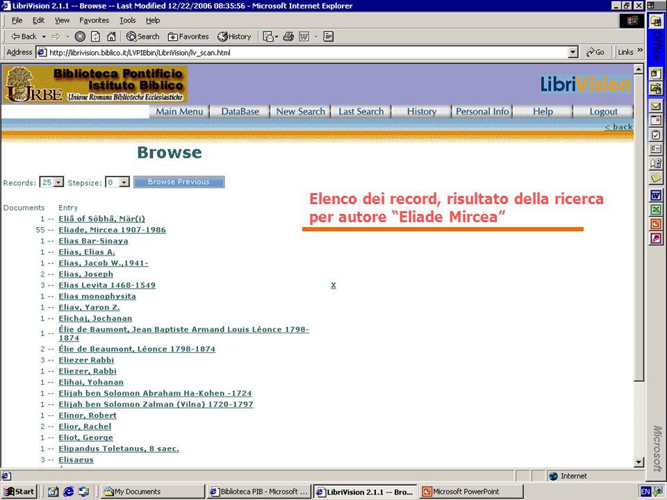 Elenco dei record, risultato della ricerca per autore Eliade Mircea