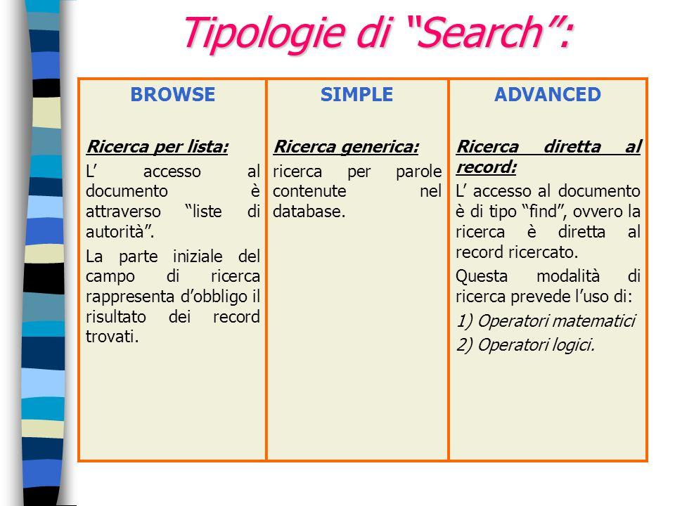 Tipologie di Search: BROWSE Ricerca per lista: L accesso al documento è attraverso liste di autorità. La parte iniziale del campo di ricerca rappresen