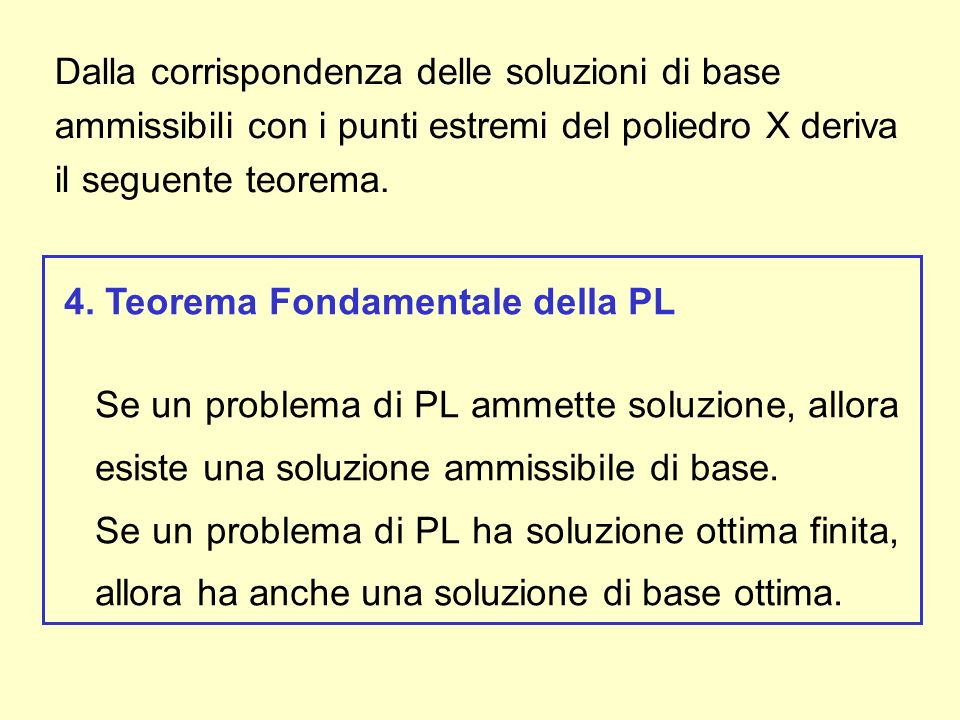 Dalla corrispondenza delle soluzioni di base ammissibili con i punti estremi del poliedro X deriva il seguente teorema. 4. Teorema Fondamentale della