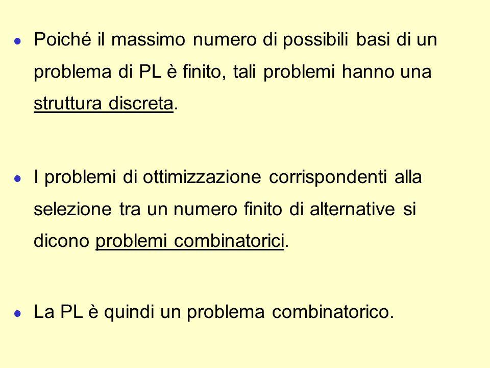 l Poiché il massimo numero di possibili basi di un problema di PL è finito, tali problemi hanno una struttura discreta. l I problemi di ottimizzazione