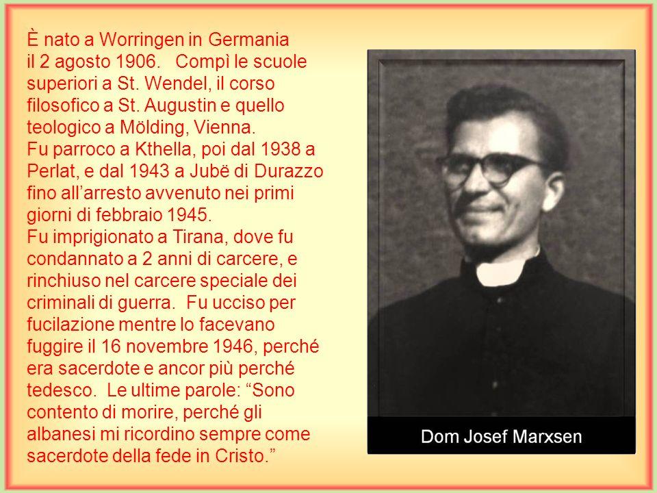 È nato a Scutari il 7 luglio 1890. Compì le scuole medie nel collegio francescano e in seguito continuò gli studi filosofici e teologici nel Seminario