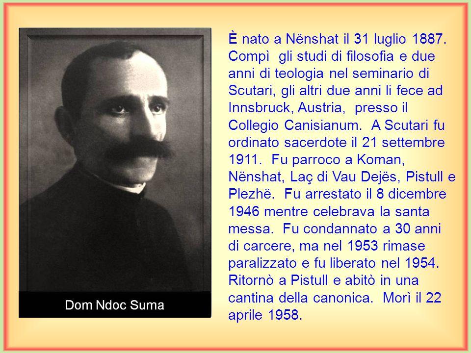 È nato a Beltojë il 9 maggio 1935. Si preparò in filosofia e teologia privatamente sotto la guida di mons. Ernest Çoba, dal quale fu ordinato sacerdot