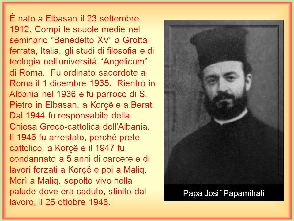 È nato a Rranxa di Bushat, Scutari, il 30 settembre 1919. Compì le scuole medie nel seminario di Scutari. Era seminarista e frequentava il terzo anno
