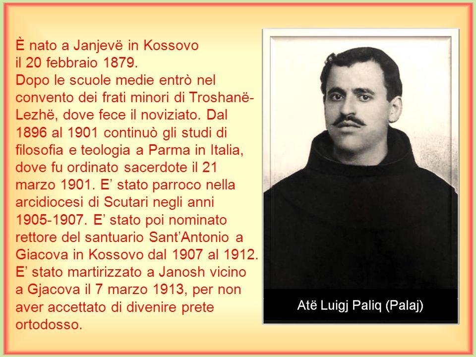 È nato a Scutari il 26 febbraio 1911. Compì le scuole medie superiori dai francescani, e gli studi teologici a Brescia, Italia. Fu ordinato sacerdote