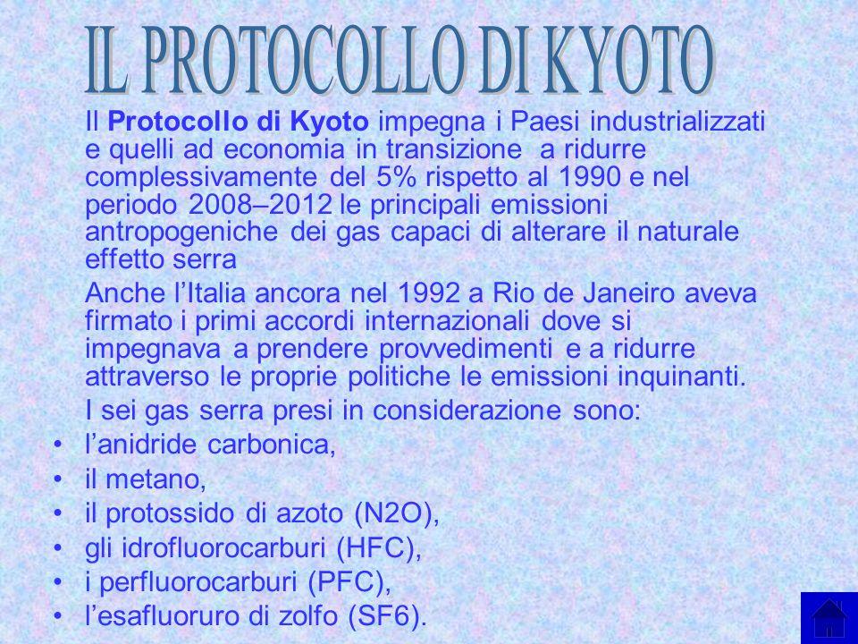 Il Protocollo di Kyoto impegna i Paesi industrializzati e quelli ad economia in transizione a ridurre complessivamente del 5% rispetto al 1990 e nel p