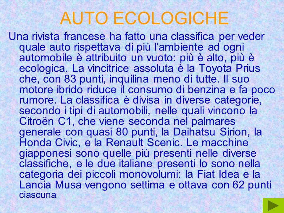 Classifi ca Casa Vendite 200 5 Emissioni di CO2 espresse in g/km %di raggiungiment o dell obiettivo 2005 automobilistica Media 19 97 Media 200 5 Riduzione 1997- 2005 Obiettivo di riduzione 1997- 2005 (in grammi) (in grammi) 1 Fiat681.613169139-30-21140% 2 Citroen875.389172144-28-24115% 3 Renault1.361.607173149-24-25100% 4 Ford1.167.602180151-29-3095% 5 Peugeot1.049.819177151-26-2894% 6 Opel/Vauxhall1.262.798180156-24-3081% 7 Toyota704.723189163-26-3576% 8 Kia231.434202170-32-4472% 9 Skoda265.486165152-13-1971% 10 Seat344.693158150-8-1363% 11 Honda224.258184166-18-3160% 12 Mercedes-Benz626.824223185-38-6459% 13 Hyundai294.468189170-19-3457% 14 Volkswagen1.387.628170159-11-2248% 15 BMW575.087216192-24-5840% 16 Volvo224.415219195-24-6139% 17 Audi582.220190177-13-3835% 18 Mazda214.105186177-9-3227% 19 Suzuki172.941169165-4-2022% 20 Nissan332.742177172-5-2620%