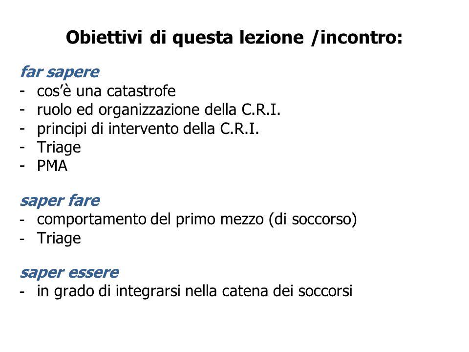 Obiettivi di questa lezione /incontro: far sapere -cosè una catastrofe -ruolo ed organizzazione della C.R.I. -principi di intervento della C.R.I. -Tri