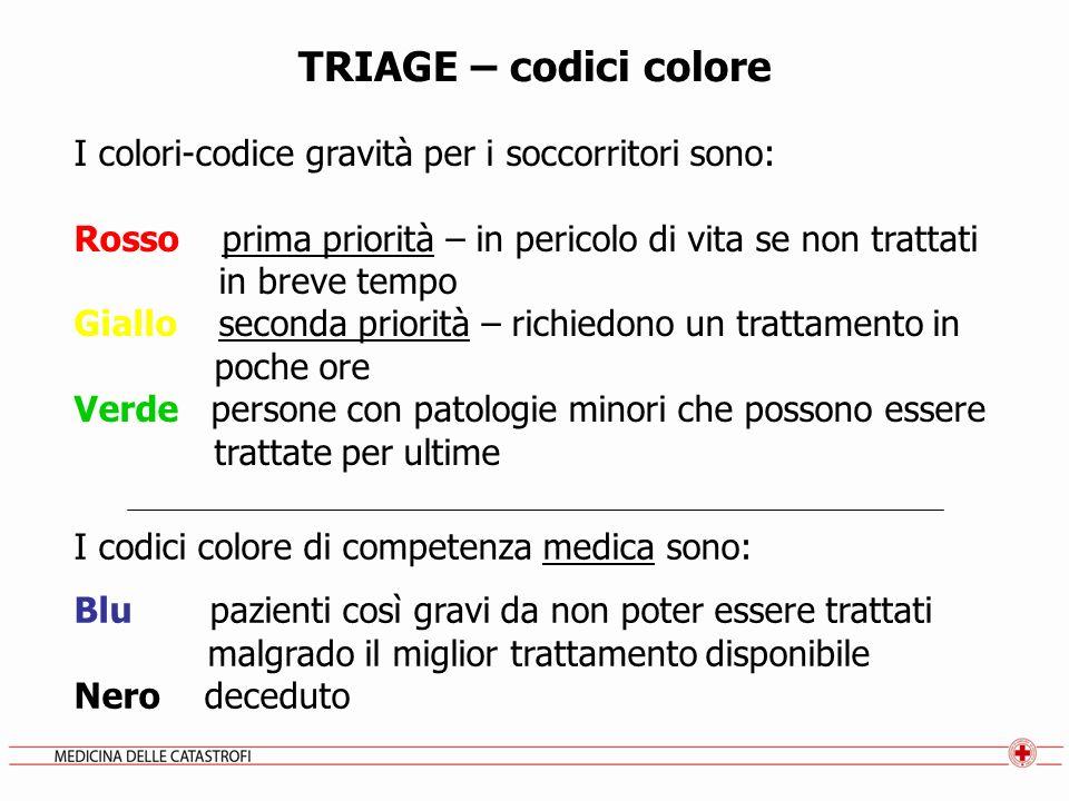TRIAGE – codici colore I colori-codice gravità per i soccorritori sono: Rosso prima priorità – in pericolo di vita se non trattati in breve tempo Gial