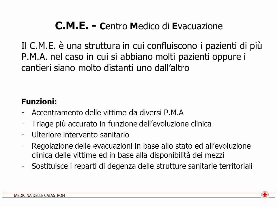 C.M.E. - Centro Medico di Evacuazione Il C.M.E. è una struttura in cui confluiscono i pazienti di più P.M.A. nel caso in cui si abbiano molti pazienti