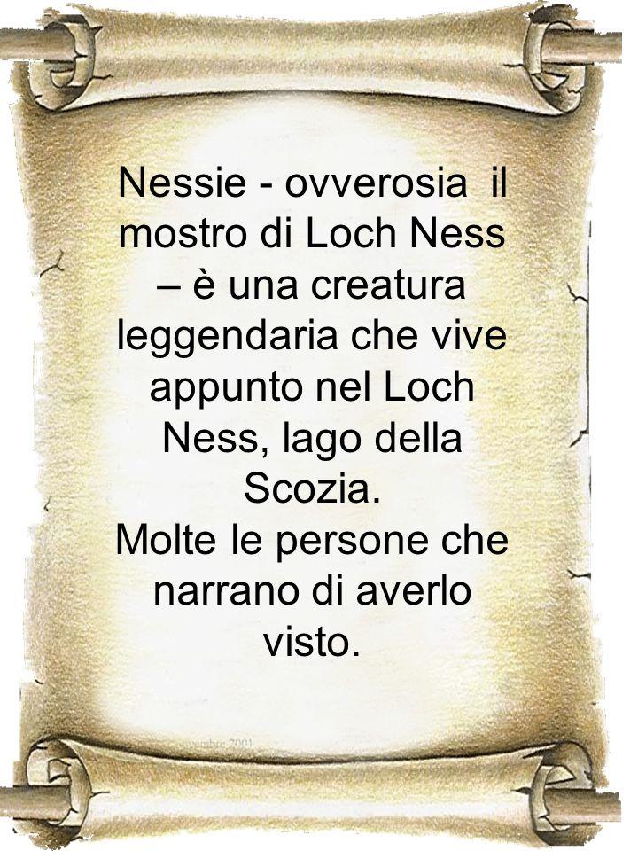 Nessie - ovverosia il mostro di Loch Ness – è una creatura leggendaria che vive appunto nel Loch Ness, lago della Scozia. Molte le persone che narrano