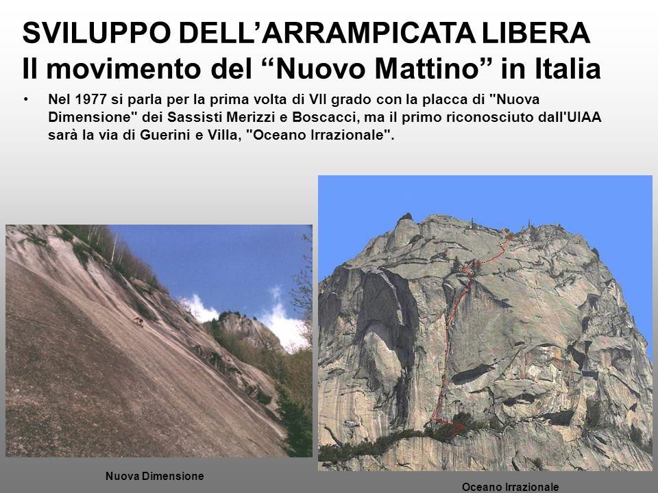 SVILUPPO DELLARRAMPICATA LIBERA Il movimento del Nuovo Mattino in Italia Nel 1977 si parla per la prima volta di VII grado con la placca di