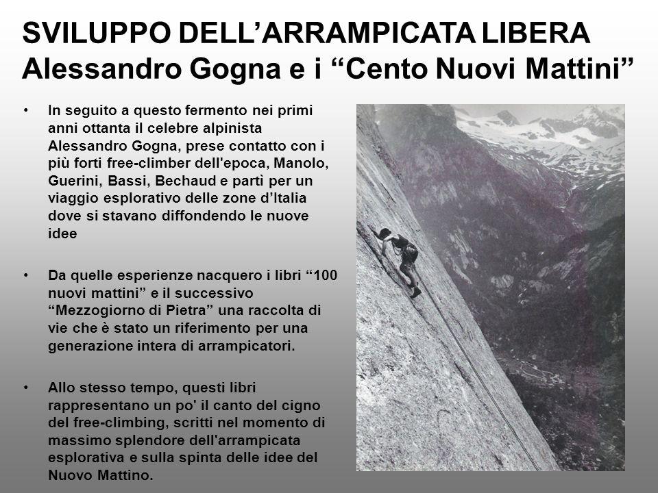 SVILUPPO DELLARRAMPICATA LIBERA Alessandro Gogna e i Cento Nuovi Mattini In seguito a questo fermento nei primi anni ottanta il celebre alpinista Ales
