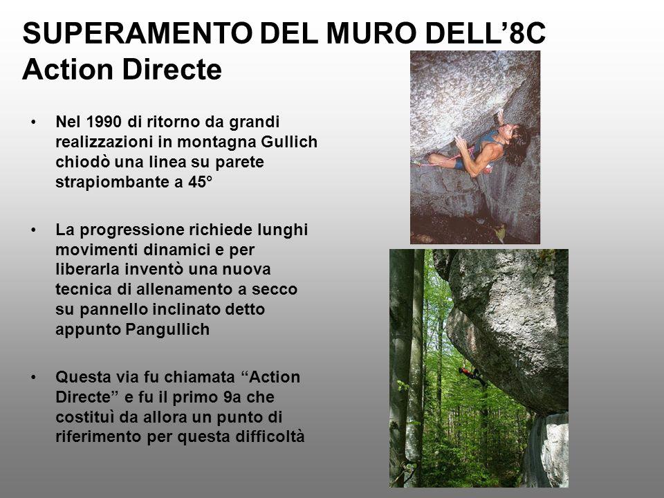 SUPERAMENTO DEL MURO DELL8C Action Directe Nel 1990 di ritorno da grandi realizzazioni in montagna Gullich chiodò una linea su parete strapiombante a