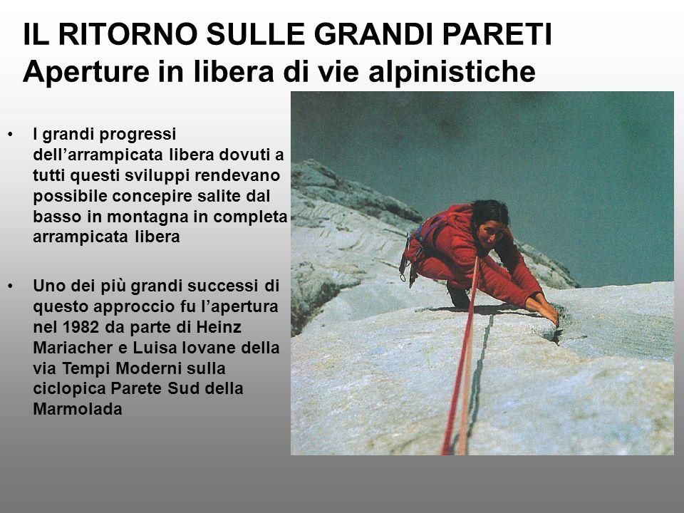IL RITORNO SULLE GRANDI PARETI Aperture in libera di vie alpinistiche I grandi progressi dellarrampicata libera dovuti a tutti questi sviluppi rendeva