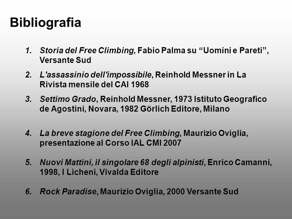 Bibliografia 1.Storia del Free Climbing, Fabio Palma su Uomini e Pareti, Versante Sud 2.L'assassinio dell'impossibile, Reinhold Messner in La Rivista