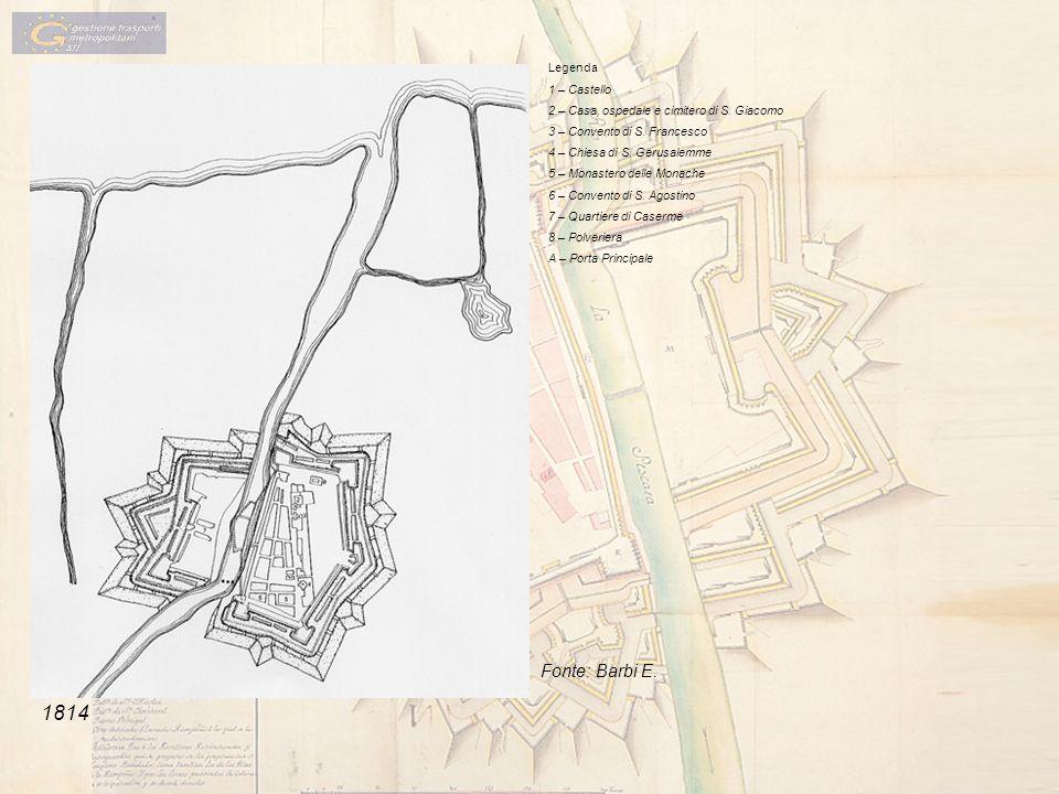 Legenda 1 – Castello 2 – Casa, ospedale e cimitero di S. Giacomo 3 – Convento di S. Francesco 4 – Chiesa di S. Gerusalemme 5 – Monastero delle Monache