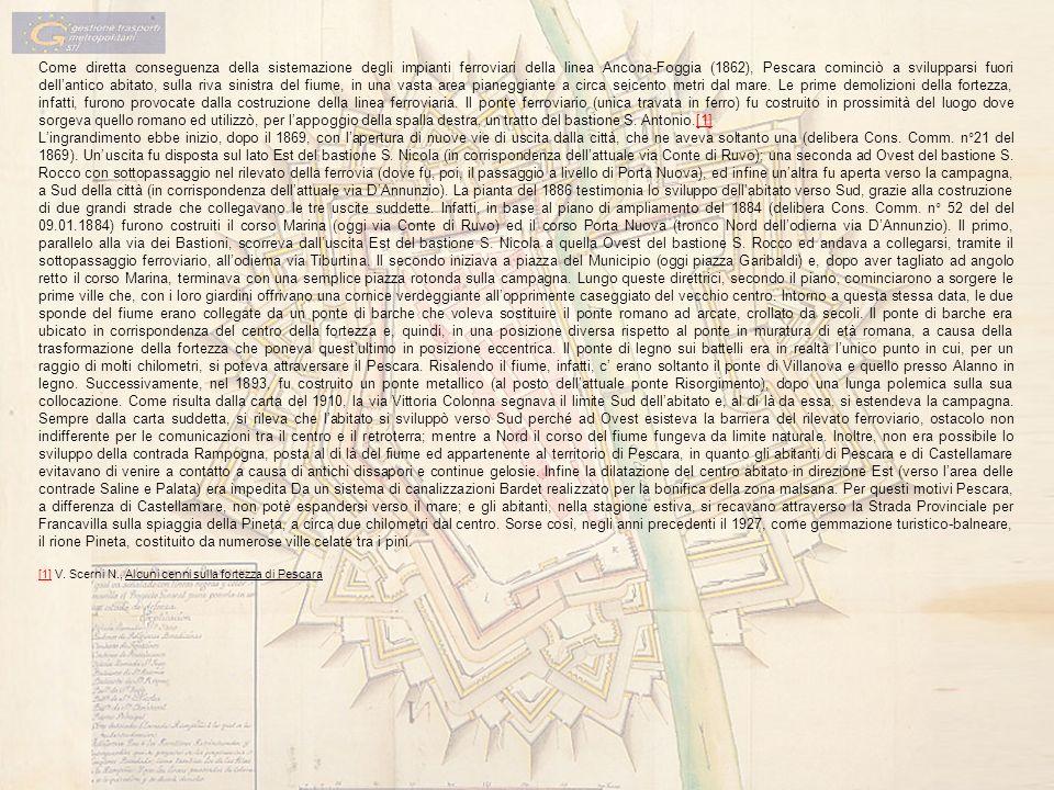 Come diretta conseguenza della sistemazione degli impianti ferroviari della linea Ancona-Foggia (1862), Pescara cominciò a svilupparsi fuori dellantic