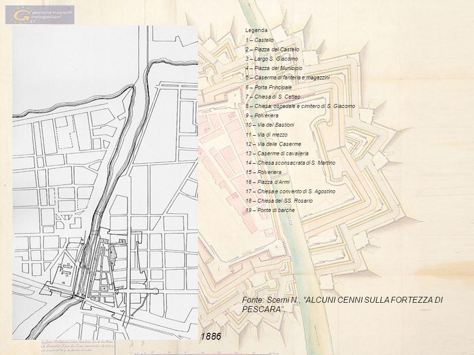 Legenda 1 – Castello 2 – Piazza del Castello 3 – Largo S. Giacomo 4 – Piazza del Municipio 5 – Caserma di fanteria e magazzini 6 – Porta Principale 7