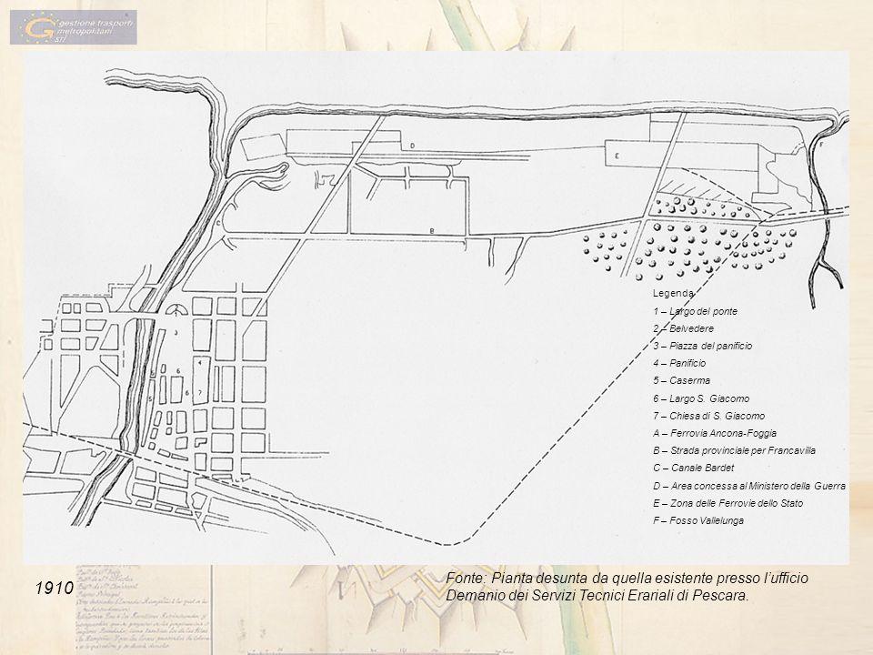 1910 Legenda 1 – Largo del ponte 2 – Belvedere 3 – Piazza del panificio 4 – Panificio 5 – Caserma 6 – Largo S. Giacomo 7 – Chiesa di S. Giacomo A – Fe