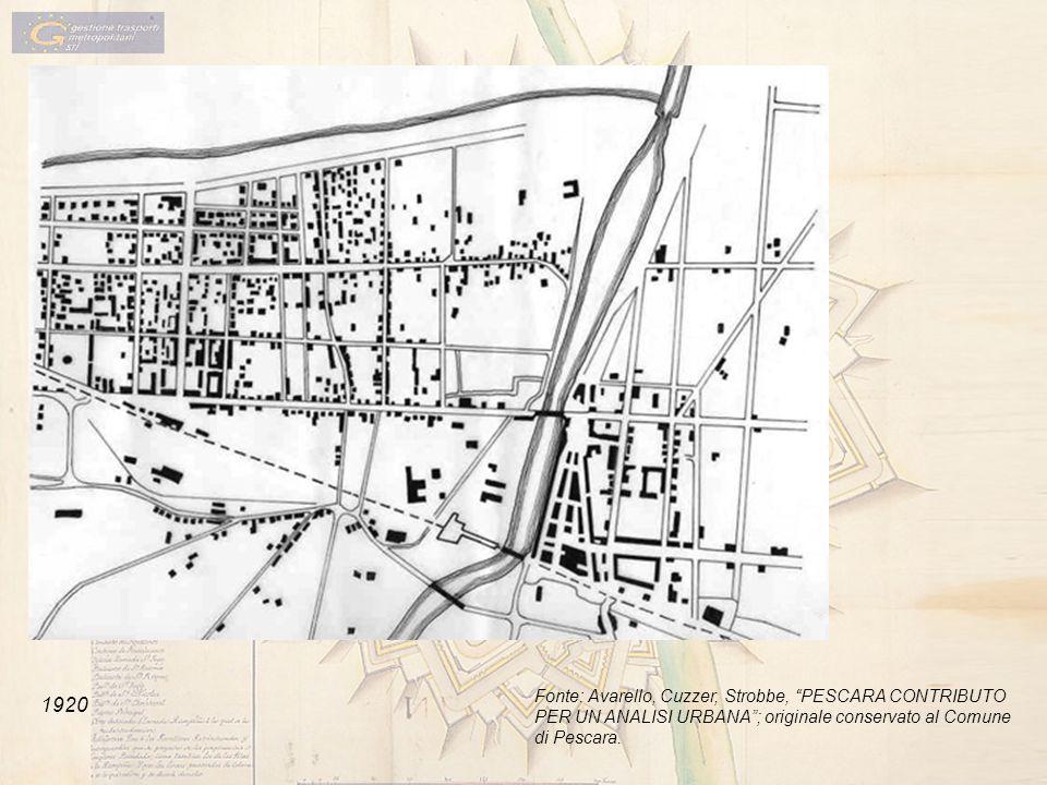 1920 Fonte: Avarello, Cuzzer, Strobbe, PESCARA CONTRIBUTO PER UN ANALISI URBANA; originale conservato al Comune di Pescara.