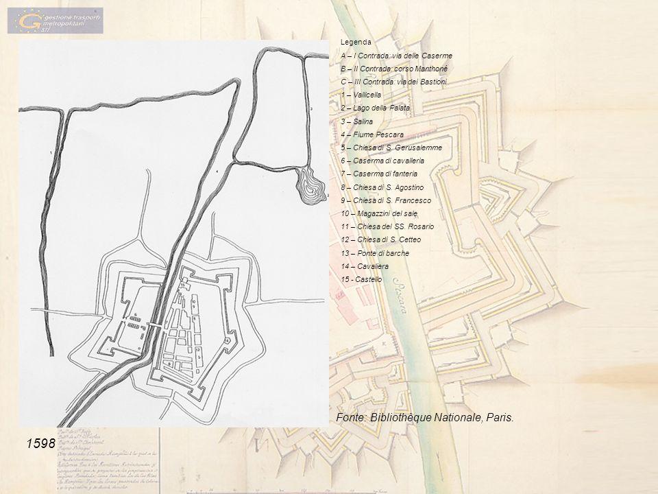 Legenda A – I Contrada: via delle Caserme B – II Contrada: corso Manthoné C – III Contrada: via dei Bastioni 1 – Vallicella 2 – Lago della Palata 3 –