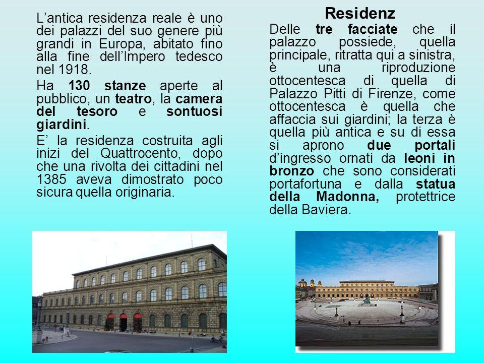 Residenz Lantica residenza reale è uno dei palazzi del suo genere più grandi in Europa, abitato fino alla fine dellImpero tedesco nel 1918. Ha 130 sta
