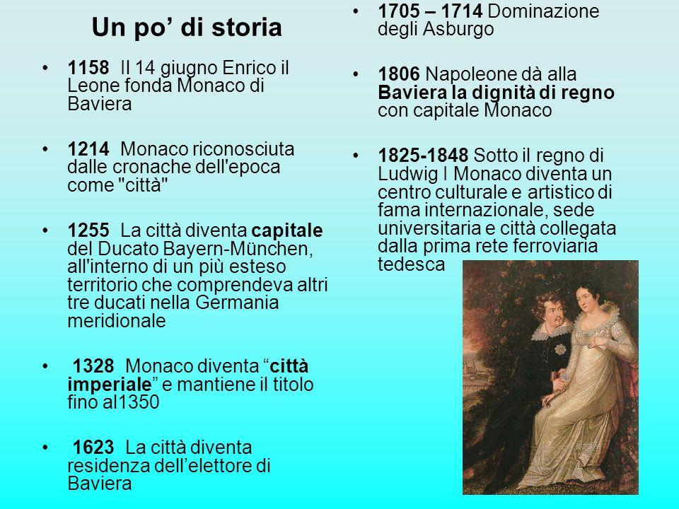 Un po di storia 1158 Il 14 giugno Enrico il Leone fonda Monaco di Baviera 1214 Monaco riconosciuta dalle cronache dell'epoca come
