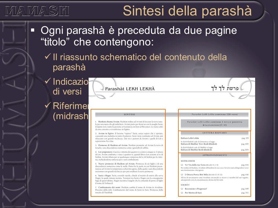 Ogni parashà è preceduta da due pagine titolo che contengono: Il riassunto schematico del contenuto della parashà Indicazioni sulle mitzvòt contenute