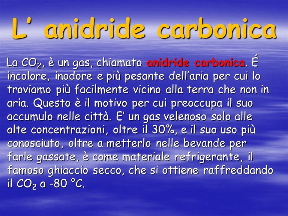 L anidride carbonica La CO 2, è un gas, chiamato anidride carbonica.