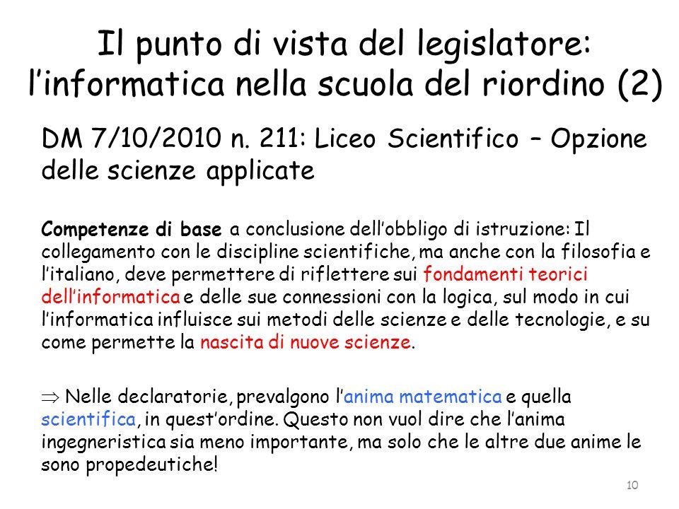 Il punto di vista del legislatore: linformatica nella scuola del riordino (2) DM 7/10/2010 n. 211: Liceo Scientifico – Opzione delle scienze applicate