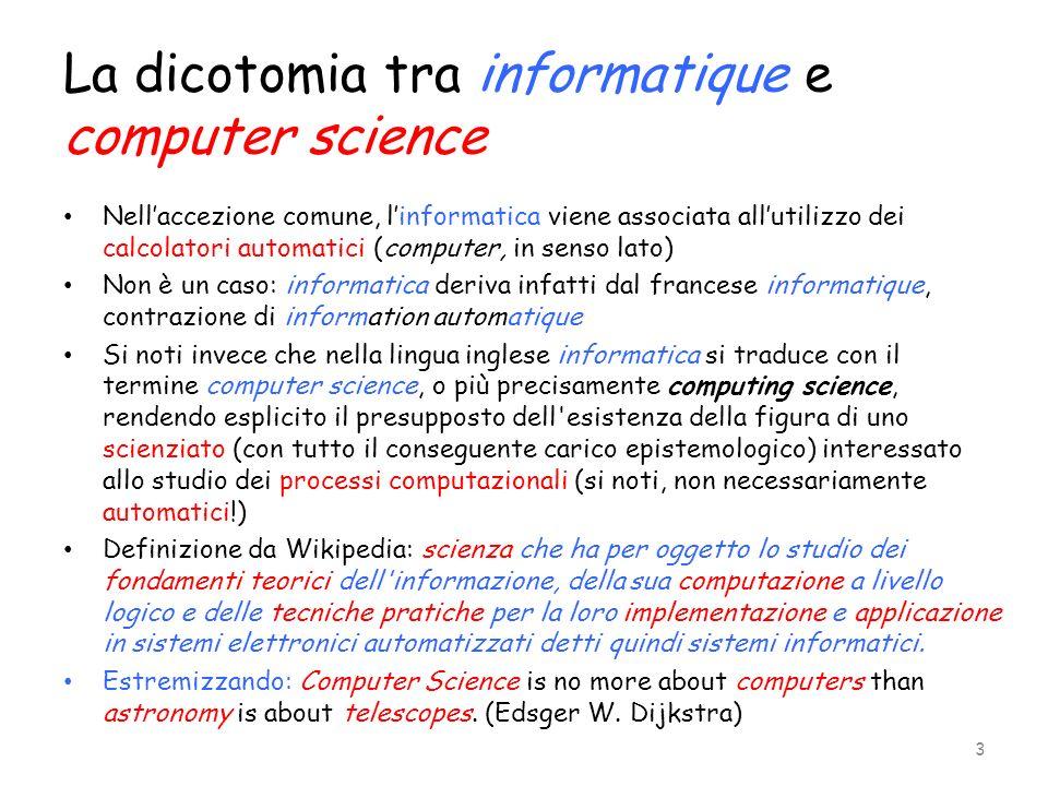 La dicotomia tra informatique e computer science Nellaccezione comune, linformatica viene associata allutilizzo dei calcolatori automatici (computer,