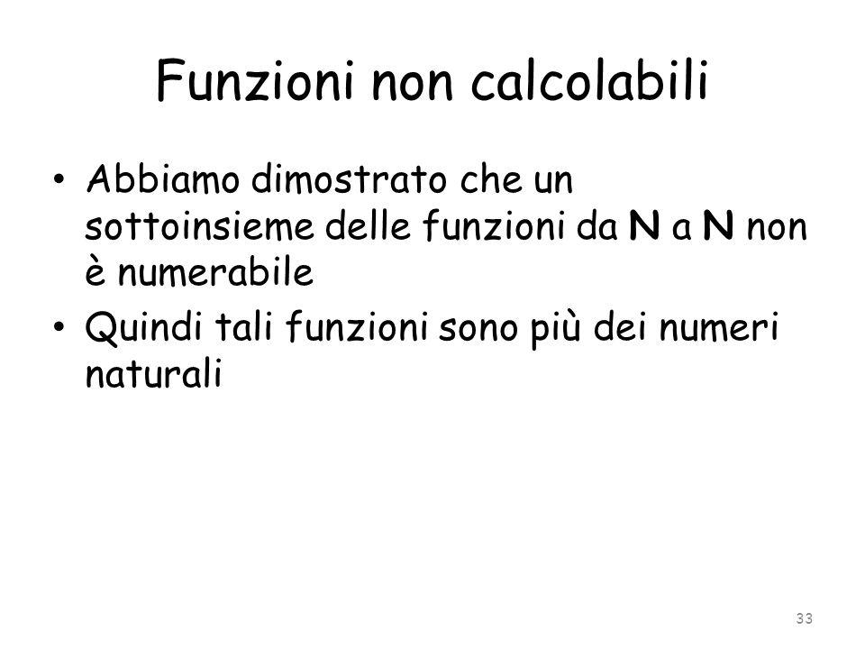 Funzioni non calcolabili Abbiamo dimostrato che un sottoinsieme delle funzioni da N a N non è numerabile Quindi tali funzioni sono più dei numeri natu